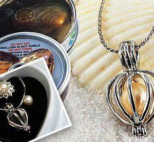 Perla přání v perlorodce s náušnicemi a prstýnkem