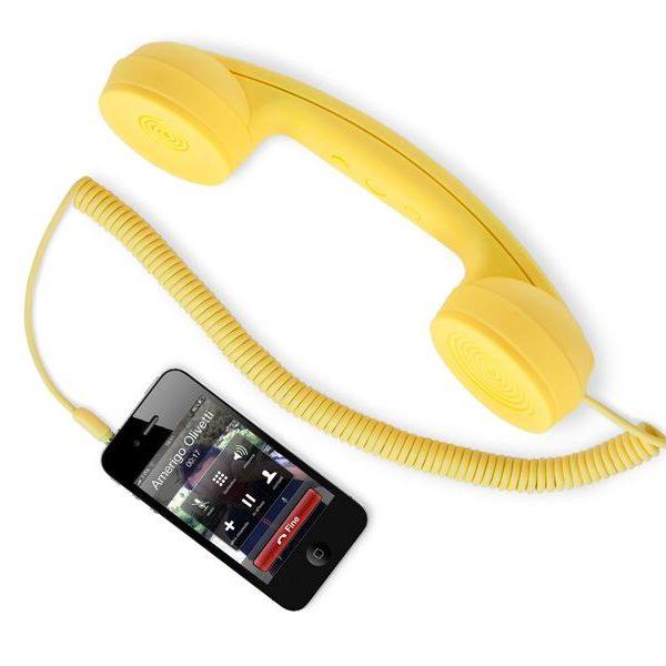 Retro sluchátko na mobil - žluté