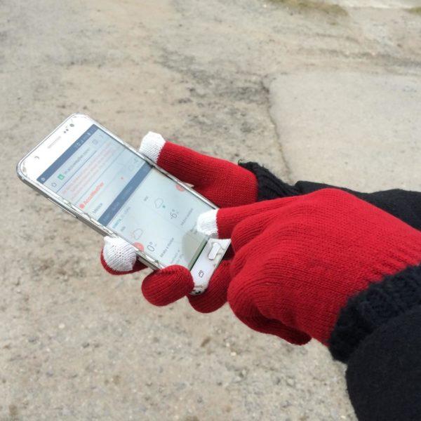 Rukavice pro smartphony bordó
