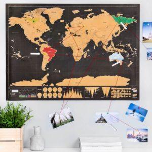 Stírací mapa světa deluxe - černá