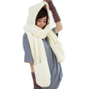 Šála s kapucí a rukavicemi 3v1 - bílá