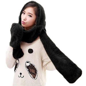 Šála s kapucí a rukavicemi 3v1 - černá