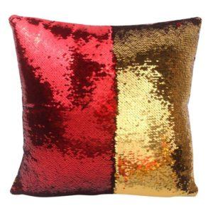 Flitrový povlak na polštář - červenozlatý