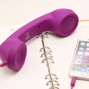 Retro sluchátko na mobil - fialové
