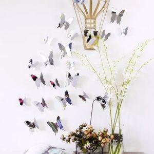 Zrcadlový motýl 12 ks - stříbrný