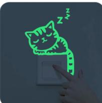 Svítící nálepky nad vypínač - kočička