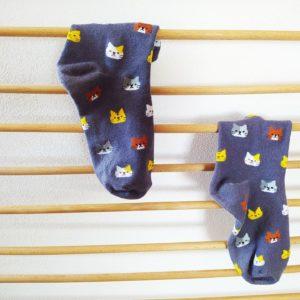 Ponožky s kočičkami - šedé