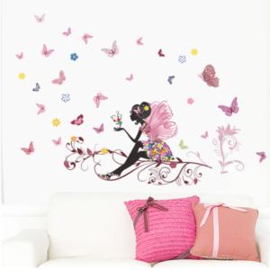 Samolepka na zeď - víla s motýlky