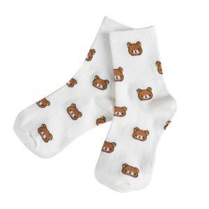 Ponožky s medvídky - bílé