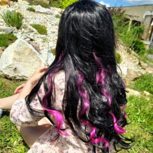 Barevné příčesky do vlasů - vínové